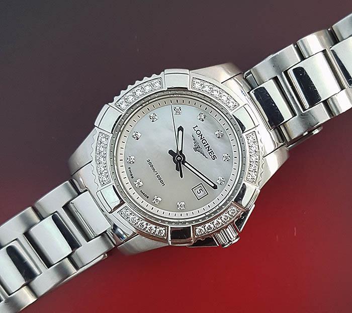 Ladies' Longines Mother of Pearl Diamond Dial & Bezel Quartz Wristwatch Ref. L3.247.0.87.6