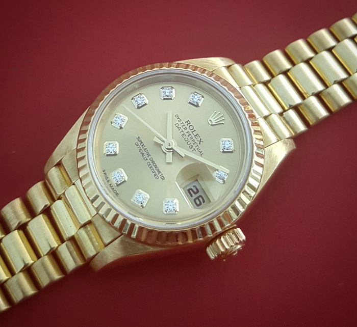 Ladies' Rolex 18K YG President Diamond Dial Ref. 69178