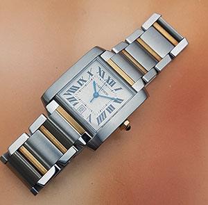 Cartier Tank Francaise 18K YG/SS Large Size Wristwatch Ref. W51005Q4