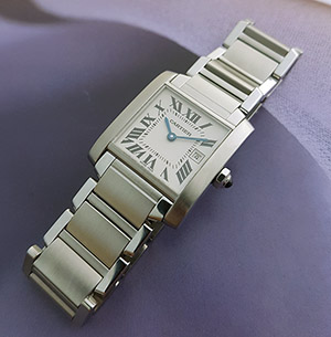 Ladies' Cartier Tank Francaise Midsize Quartz Wristwatch Ref. W51011Q3