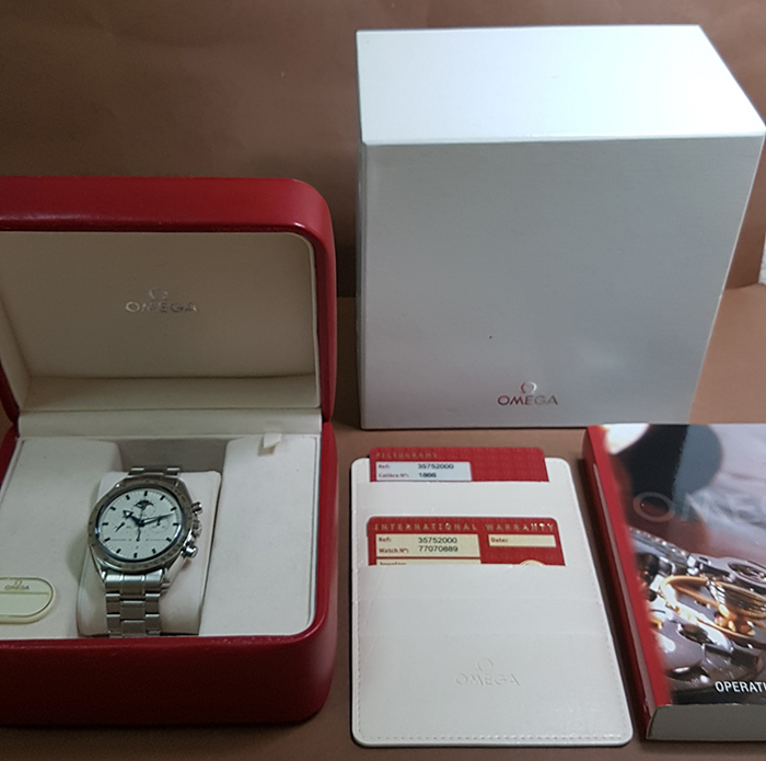 Omega Speedmaster Professional Moonphase Steel and 18K White Gold Wristwatch Ref. 3575.20