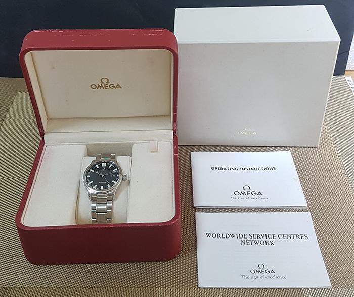 Omega Dynamic Black Waffle Dial Wristwatch Ref. 5203.51