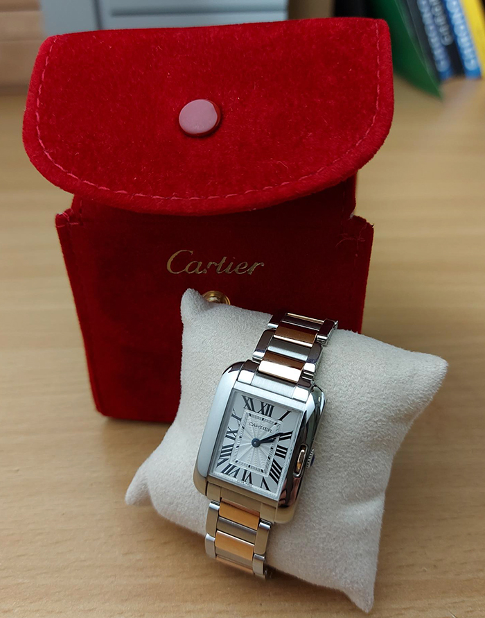 Ladies' Cartier Tank Anglaise Small SS/RG Wristwatch Ref. W5310036