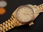Ladies Rolex Oyster Perpetual 18K Diamond Dial Ref 67198