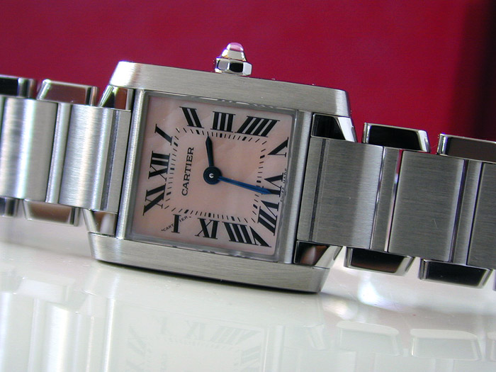 Cartier Tank Francaise Pink Mother Of Pearl Ladies Quartz Watch w51028q3