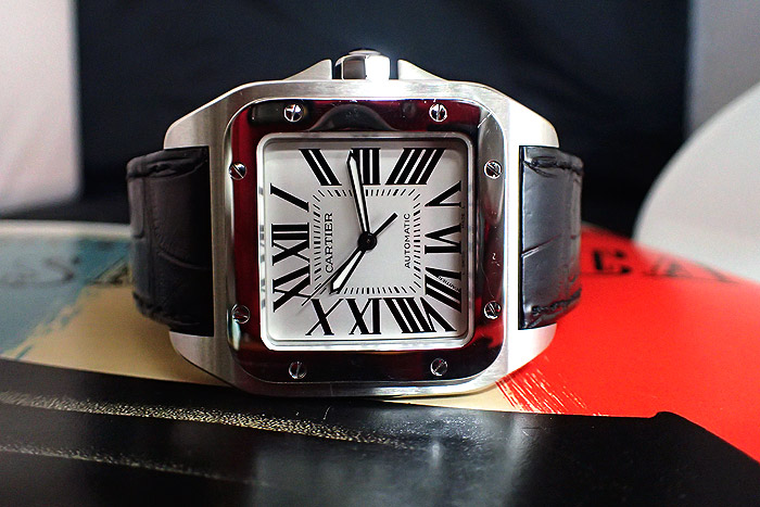 Cartier Santos 100 White Dial Roman Numeral Wristwatch W20073X8