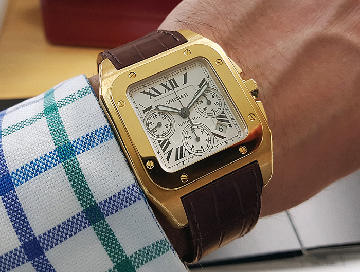 Cartier Santos 100XL Yellow Gold Auto Chronograph