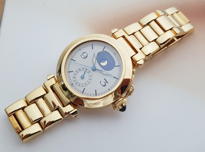Cartier Pasha Phase De Lune 18K YG Wristwatch Ref. W3005351