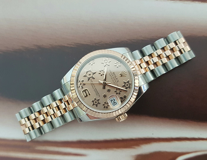 Ladies' Rolex Datejust Pink Floral Dial Wristwatch RG Ref. 178241