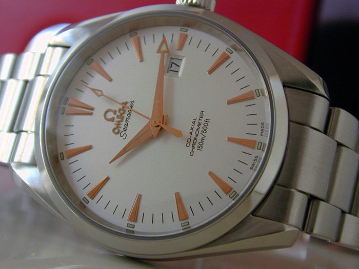Omega Seamaster Aqua Terra with Rose Gold Markers Wristwatch Ref. 2502.34