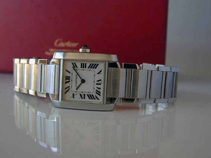Ladies' Cartier Tank Francaise Midsize Quartz Wristwatch Ref. W51003Q3
