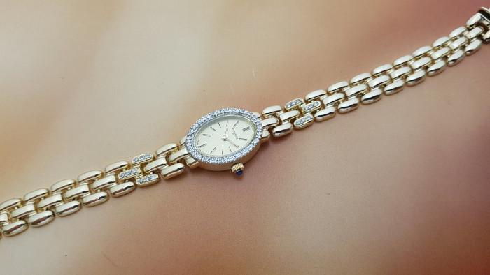 Wittnauer 14K Solid Gold & Diamond Bezel Wristwatch Ref. LW5320