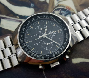 1970 Omega Speedmaster Mark II Chronograph Tropical Dial Wristwatch Ref. 145.014